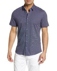 Stone Rose Microdot Print Knit Sport Shirt