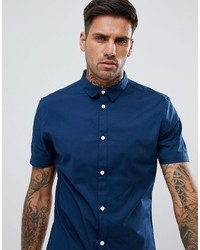 YOURTURN Muscle Fit Shirt With Mini Collar In Navy