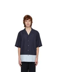 Barena Navy And Blue Poplin Shirt