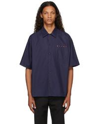 Marni Navy Bowling Logo Short Sleeve Shirt