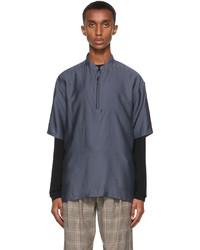 Giorgio Armani Navy Half Zip Sport Short Sleeve Shirt