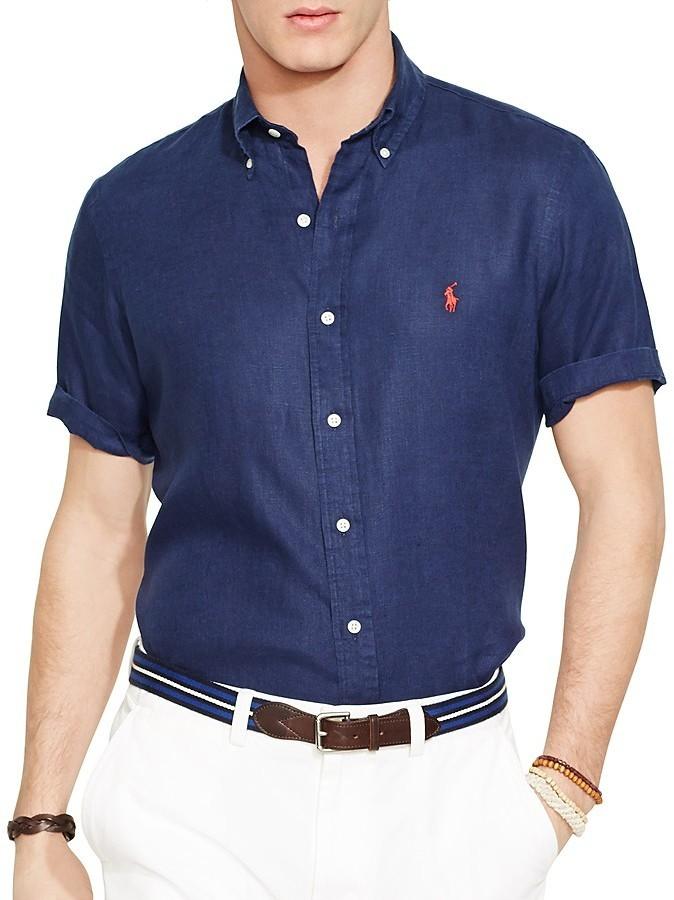 ... Polo Ralph Lauren Short Sleeved Linen Shirt Classic Fit