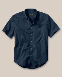 Eddie Bauer Relaxed Fit Signature Twill Shirt Solid Short Sleeve