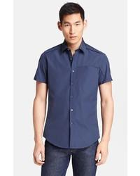 Salvatore Ferragamo Woven Short Sleeve Sport Shirt Blue Xx Large