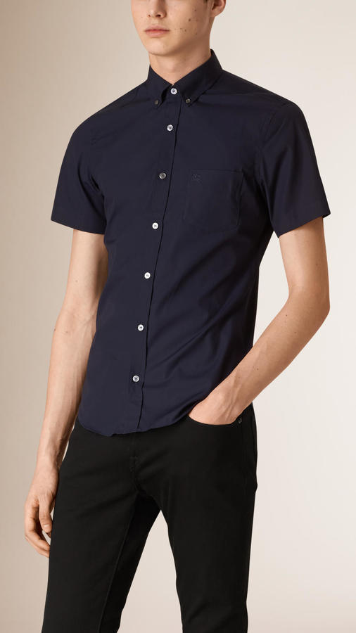 554204da7971 ... Navy Short Sleeve Shirts Burberry Short Sleeved Stretch Cotton Poplin  Shirt ...