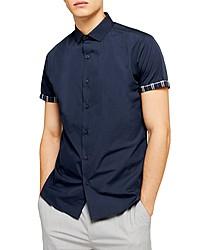 Topman Slim Fit Contrast Cuff Short Sleeve Button Up Shirt