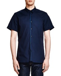 The Kooples Slim Fit Short Sleeve Poplin Shirt