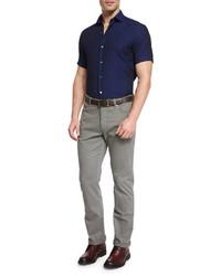 Solid short sleeve sport shirt navy medium 610025