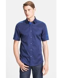 Versace Trend Fit Short Sleeve Woven Shirt Dark Navy 44