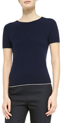 The Row Cashmere Short Sleeve Sweater Navy | Where to buy & how to ...