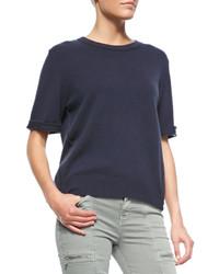 J Brand Jeans Audrey Cashmere Short Sleeve Sweater