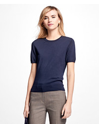 Brooks Brothers Short Sleeve Saxxon Wool Shell