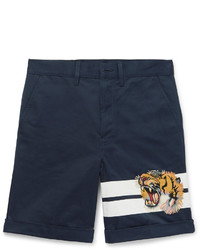 Gucci Appliqud Cotton Gabardine Shorts