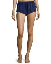 Asceno Silk Satin Pajama Shorts Navy
