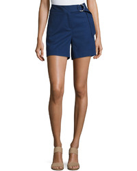 MICHAEL Michael Kors Michl Michl Kors Ring Belted Cotton Blend Shorts Blue
