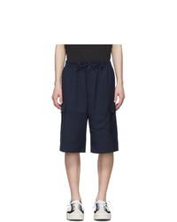 Y-3 Navy Wool Classic Cargo Shorts