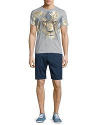 Etro Tonal Patterned Flat Front Shorts Navy