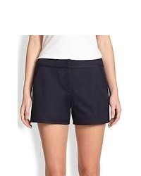Tory Burch Tessa Stretch Cotton Twill Shorts Medium Navy