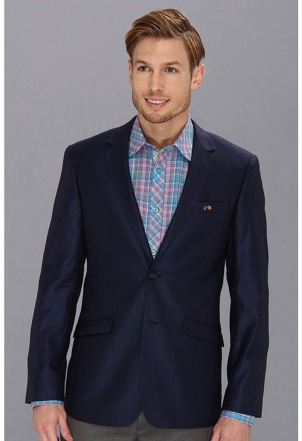 Moods of Norway Classic Fit Rune Tonning Blue Silk Suit Jacket ...