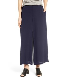 Eileen Fisher Silk Georgette Wide Leg Crop Pants