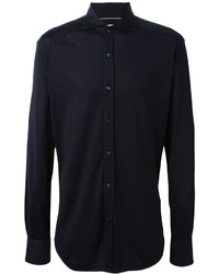 Navy Silk Dress Shirt