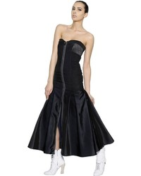 Fendi Strapless Bustier Techno Silk Dress