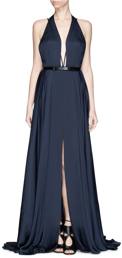 Jason Wu Plunge Neck Belted Silk Gown | Where to buy & how to wear