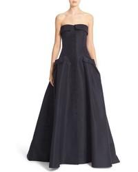 Pocket detail strapless silk faille gown medium 834594
