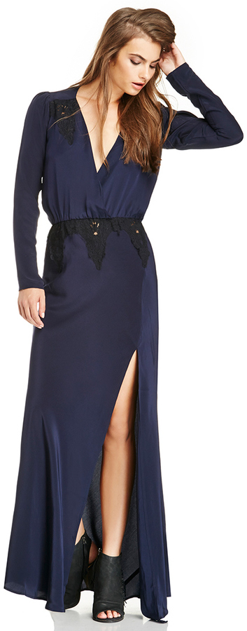 Stone_Cold_Fox Stone Cold Fox Silk Alabama Gown In Navy 2 | Where to ...