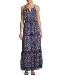 Agnece tiered silk maxi dress blue medium 3679806