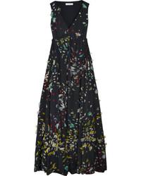 Chloé Fil Coup Silk Maxi Dress Navy