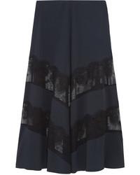 Stella McCartney Lace Paneled Silk Maxi Skirt Midnight Blue