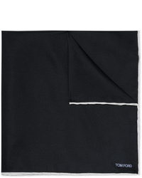 Tom Ford Contrast Tipped Silk Twill Pocket Square