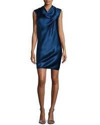Navy Silk Shift Dress