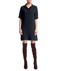 Loro Piana Bess Short Sleeve Silk Shirtdress