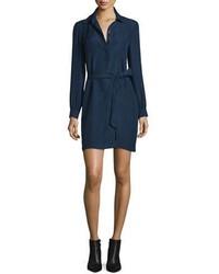 Diane von Furstenberg Seanna Belted Silk Shirtdress Midnight