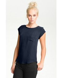 Joie rancher silk pocket top navy large medium 121398