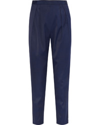 Navy Silk Tapered Pants