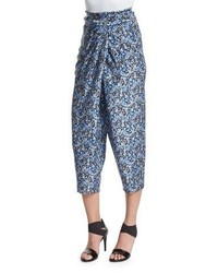 Elie Tahari Jodi Tapered Cropped Silk Pants Stargazer