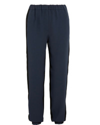 Cédric Charlier Two Tone Crepe And Satin Tapered Pants