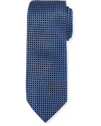 Neiman Marcus Boxed Grid Silk Tie Blue