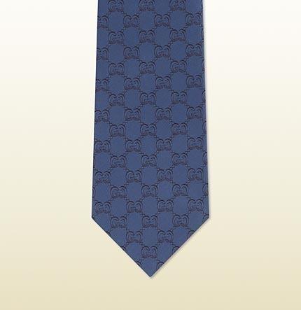 43d95857a47d6 ... Navy Silk Ties Gucci Gg Pattern Silk Jacquard Tie