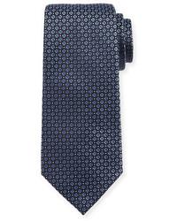 Giorgio Armani Mini Cross Medallion Silk Tie Blue