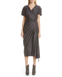 Rick Owens Limo Cotton Silk Wrap Dress