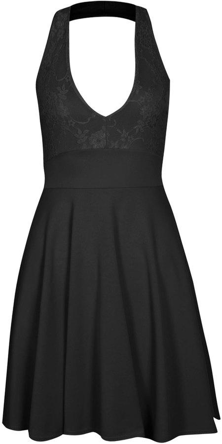 89df30878515 Boohoo Carys Lace Halterneck Skater Dress, $26 | BooHoo | Lookastic.com