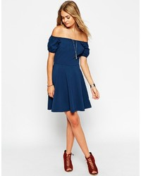 1de3b6ff938 ... Asos Collection Skater Dress With Off Shoulder And Gypsy Detail ...