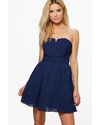 Boohoo Milllie Pleated Bandeau Skater Dress