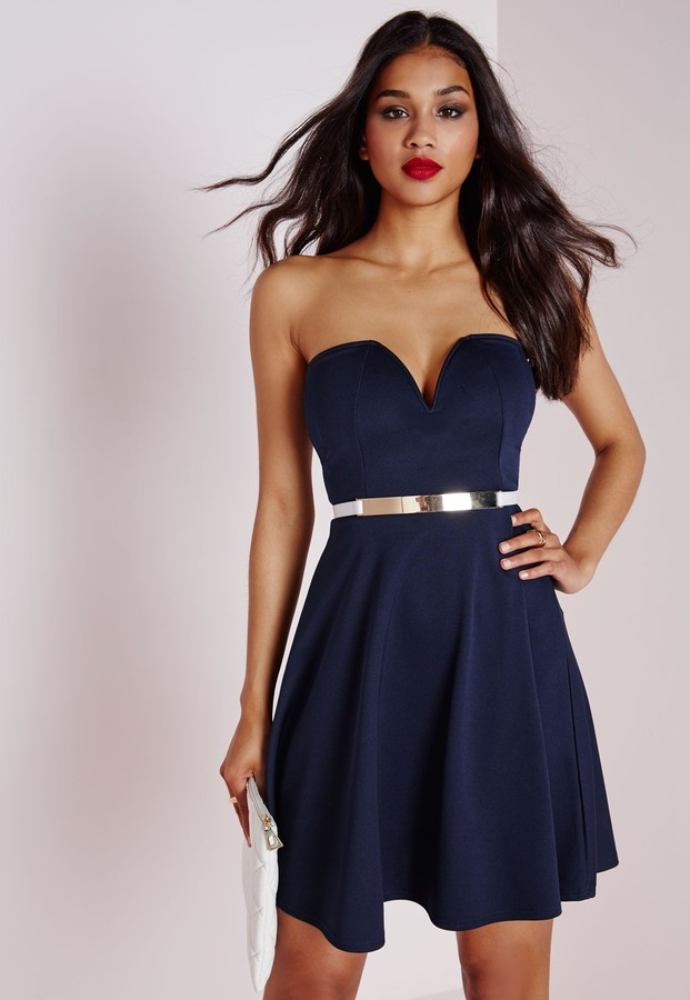 bc2a2b33bb ... Missguided Scuba Plunge Skater Dress Navy ...