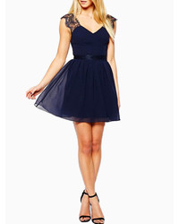 6d7a972b50 ... Choies Navy Blue Backless Skater Dress With Lace Shoulder ...