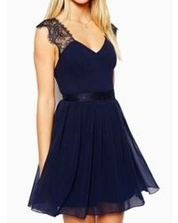 Choies Navy Blue Backless Skater Dress With Lace Shoulder
